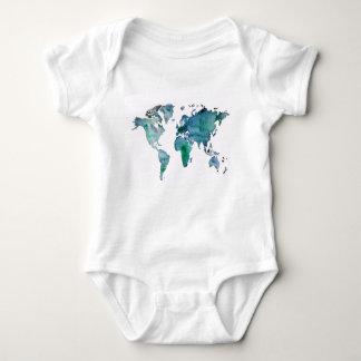 Body Para Bebê Mapa do mundo do verde azul