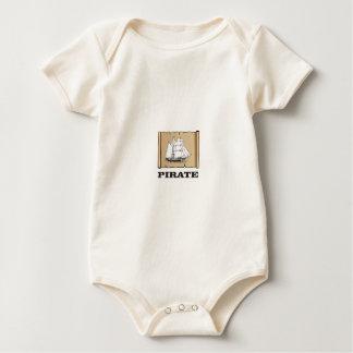 Body Para Bebê mapa do pirata com barco