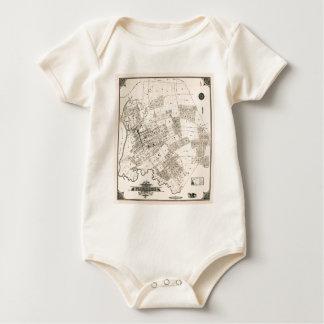 Body Para Bebê Mapa do vintage de nivelar 1894
