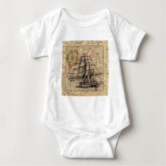 Body Para Bebê Mapa e navio do vintage