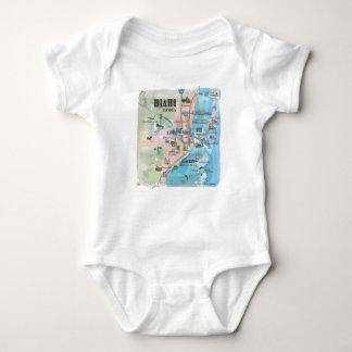 Body Para Bebê Mapa retro de Miami Florida