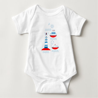 Body Para Bebê Mar, navios, faróis, gaivotas