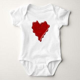 Body Para Bebê Maria. Selo vermelho da cera do coração com Maria
