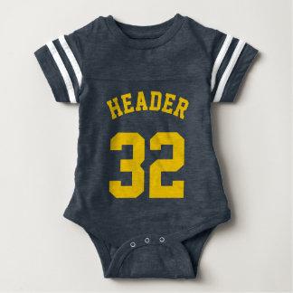 Body Para Bebê Marinho & design amarelo dourado do jérsei dos