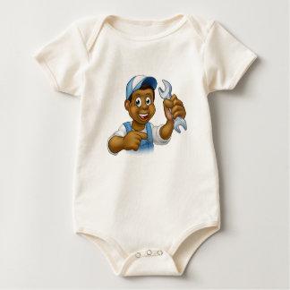 Body Para Bebê Mecânico ou trabalhador manual preto do