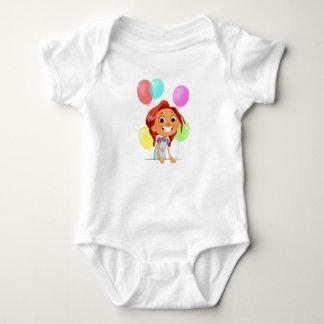 Body Para Bebê Menina cartoony bonito com sorriso dos balões