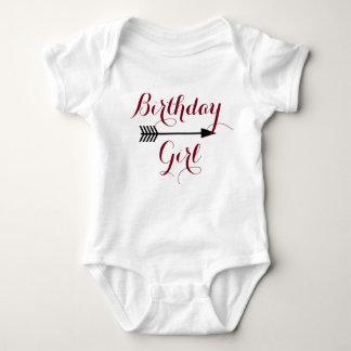 Body Para Bebê Menina do aniversário - seta marrom de Boho -