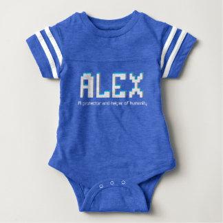 Body Para Bebê Meninos nome de Alex e texto do pixel do