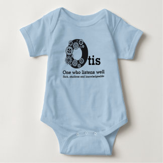 Body Para Bebê Meninos nome de Otis e rodas denteadas do tempo de