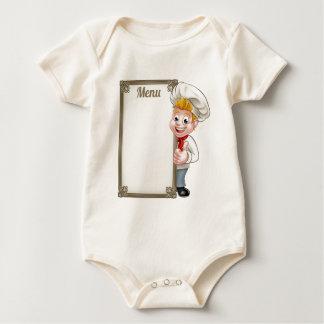 Body Para Bebê Menu do caráter do cozinheiro chefe ou do padeiro