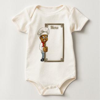 Body Para Bebê Menu preto do cozinheiro chefe dos desenhos