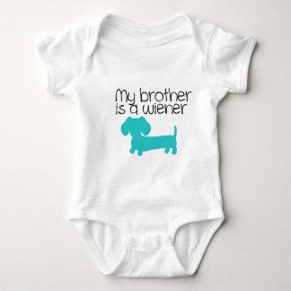Body Para Bebê Meu irmão é um Wiener (o filhote de cachorro azul