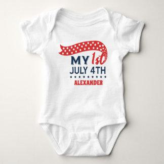 Body Para Bebê Meu primeiro quarto de julho personalizou