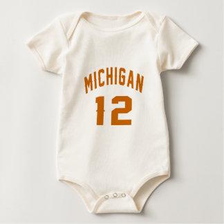 Body Para Bebê Michigan 12 designs do aniversário