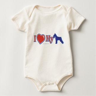 Body Para Bebê Mim coração meu schnauzer