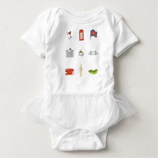 Body Para Bebê Mim coração Reino Unido, amor britânico, marcos de