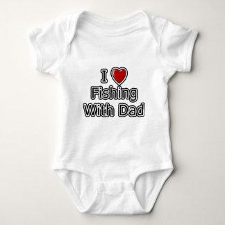 Body Para Bebê Mim pesca do coração com pai