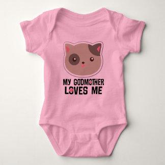 Body Para Bebê Minha madrinha ama-me t-shirt das meninas do gato