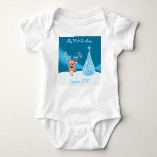 Body Para Bebê Minha primeira veste da rena do Natal