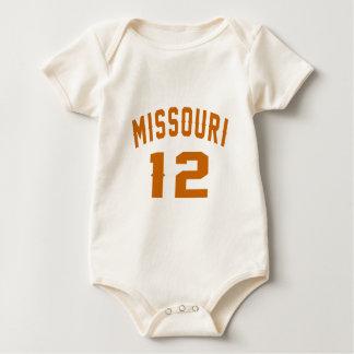 Body Para Bebê Missouri 12 designs do aniversário