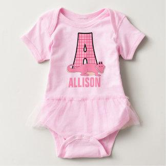 Body Para Bebê Monograma cor-de-rosa doce A para meninas