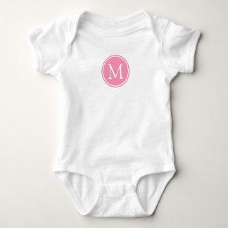 Body Para Bebê Monograma cor-de-rosa e branco feliz