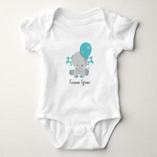 Body Para Bebê Monograma neutro do bebê do género do elefante da