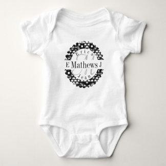 Body Para Bebê Monograma rachado com nomes e Initals