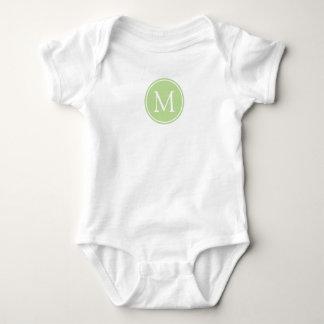 Body Para Bebê Monograma verde e branco da hortelã
