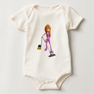 Body Para Bebê Mulher dos desenhos animados que usa um vácuo