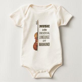 Body Para Bebê Música o Bodysuit da língua universal  