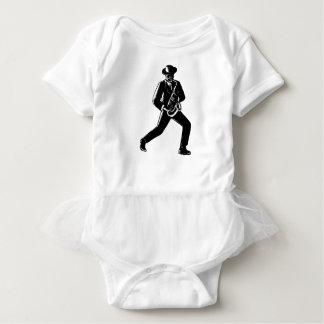 Body Para Bebê Músico de jazz que joga o Woodcut do saxofone