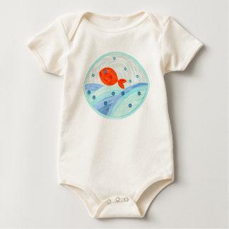 Body Para Bebê Natação vermelha dos peixes