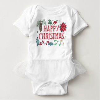 Body Para Bebê Natal botânico tradicional (branco)