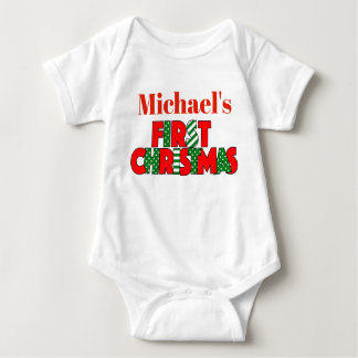 Body Para Bebê Natal vermelho e verde do bebê primeiro