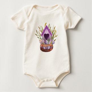 Body Para Bebê Ninho bonito do primavera da aguarela