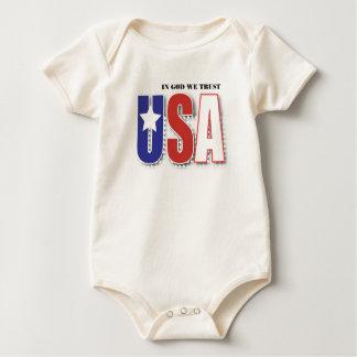 Body Para Bebê No deus nós confiamos o t-shirt -- tipo azul sobre