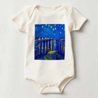 Body Para Bebê Noite estrelado de Van Gogh sobre Rhone