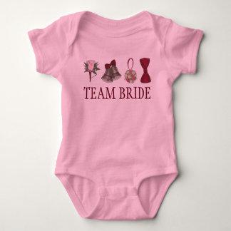 Body Para Bebê NOIVA da EQUIPE que Wedding o florista cor-de-rosa
