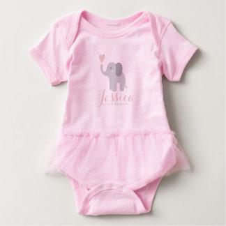Body Para Bebê Nome do coração do elefante do tutu do rosa do