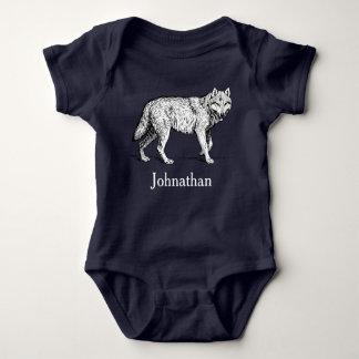 Body Para Bebê Nome rústico do lobo & do bebê da região selvagem