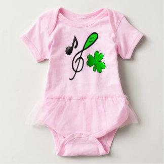 Body Para Bebê Nota & trevo felizes verdes da música do Clef de