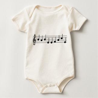 Body Para Bebê Notas da CARA do BEBÊ do bebê do músico