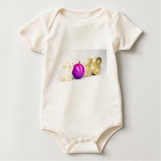 Body Para Bebê Número 2018 com bola do Natal