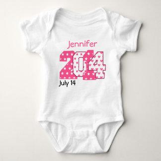 Body Para Bebê Números grandes do nascer em 2014 cor-de-rosa e