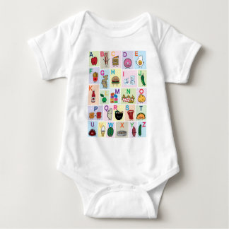 Body Para Bebê O alfabeto de ABC que aprende alimentos felizes