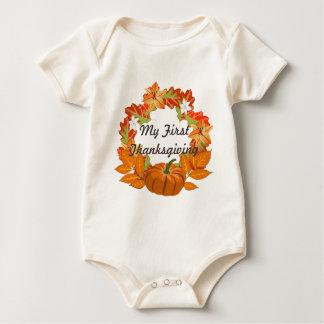 Body Para Bebê O bebê curto da luva da primeira acção de graças