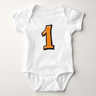 Body Para Bebê O bobo numera 1 t-shirt infantil alaranjado
