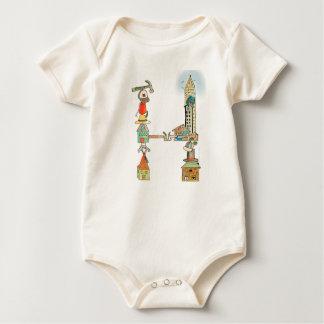 Body Para Bebê O Bodysuit orgânico da letra H