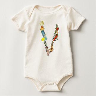 Body Para Bebê O Bodysuit orgânico da letra V